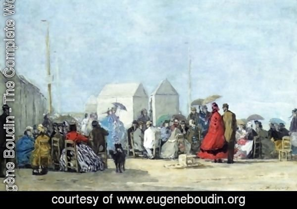 Eugène Boudin - Beach Scene at Trouville I