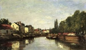 Eugène Boudin - Brussels, the Louvain Canal