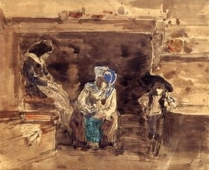 Eugène Boudin - Breton Family by the Fireplace