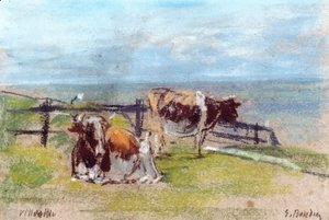 Eugène Boudin - Cows on a Cliff at Villerville