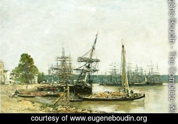 Eugène Boudin - Bordeaux, Moored Boats on the Garonne