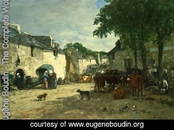 Eugène Boudin - Cattle Market at Daoulas, Brittany