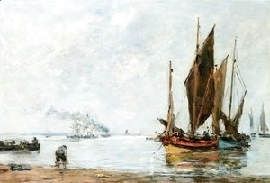 Eugène Boudin - Boats At Anchor along the Shore