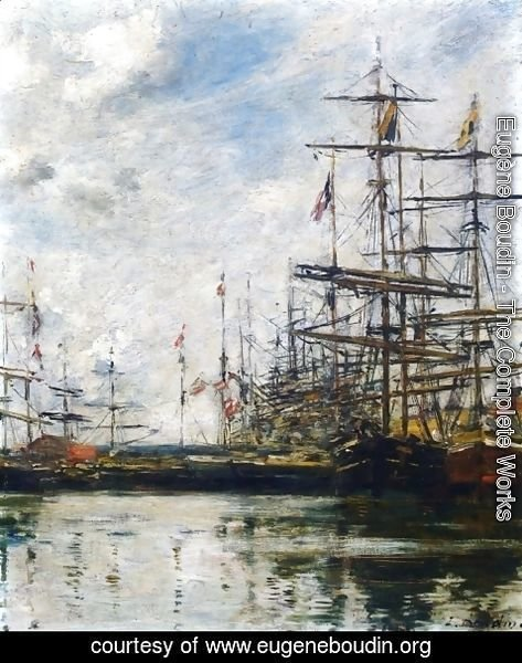 Eugène Boudin - The Port, Ships at Dock