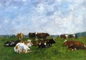 Eugène Boudin - Cows in a Pasture I