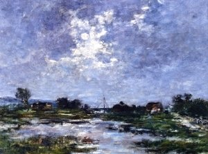 Eugène Boudin - Moonlight on the Marshes, The Toques