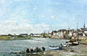 Eugène Boudin - Laundresses on the Banks of the Port of Trouville