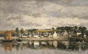 Eugène Boudin - Village by a River