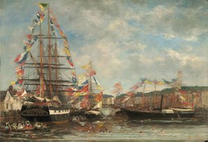 Eugène Boudin - Festival in the Harbor of Honfleur