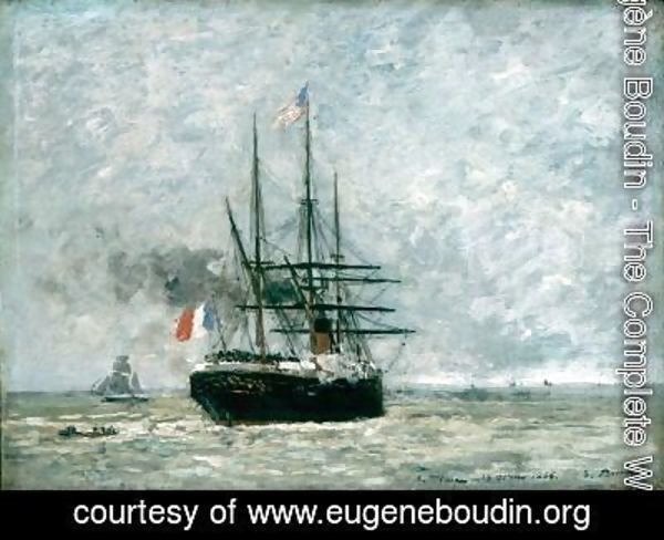Eugène Boudin - Leaving Port