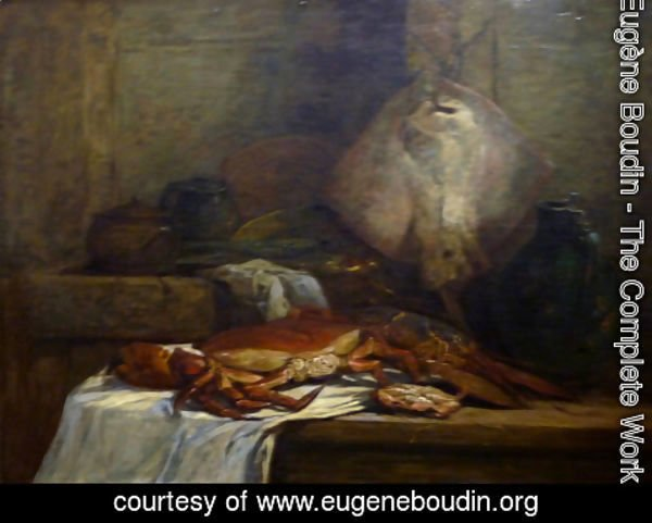 Eugène Boudin - Crab, Lobster and Fish (aka Still Life with Skate)