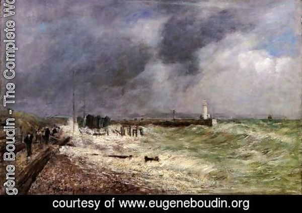 Eugène Boudin - Le Havre, A Gust of Wind at Frascati