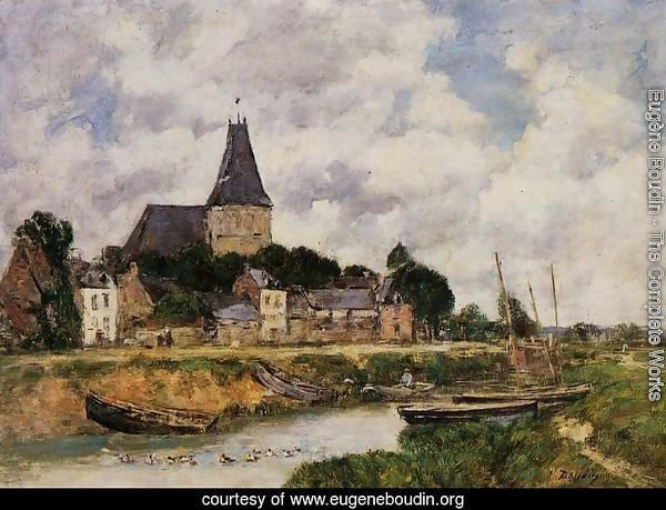 Quillebeuf, View of the Church from the Canal