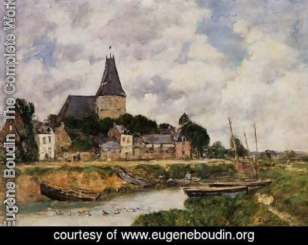 Eugène Boudin - Quillebeuf, View of the Church from the Canal