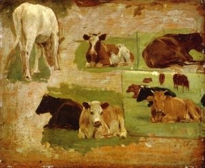 Eugène Boudin - Study of Cattle