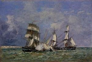 Eugène Boudin - The Capture of a Raider
