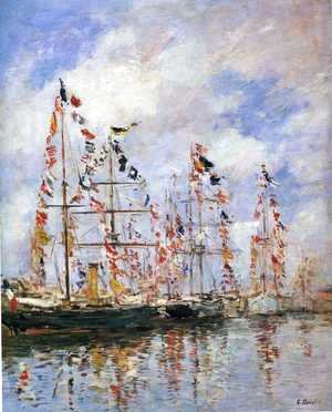 Eugène Boudin - Sailing Ships at Deauville