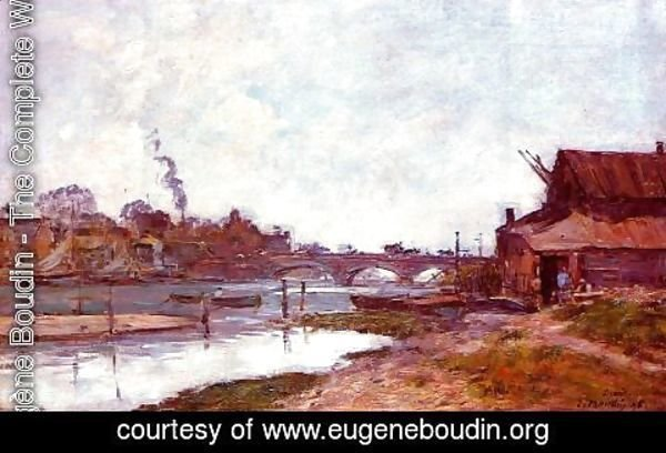 Eugène Boudin - Bridge on the River Touques at Deauville 1895