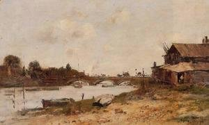 Eugène Boudin - Bridge over the Touques at Deauville 1895