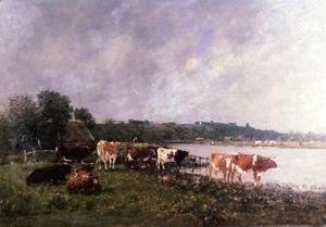 Eugène Boudin - Cows on the Banks of the Touques 1880