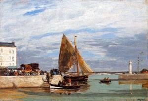 Eugène Boudin - Honfleur Three Master in Port2 1880-1885