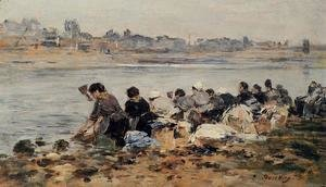 Eugène Boudin - Laundresses on the Banks of the Touques 1886