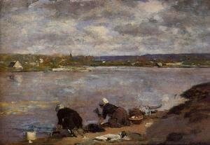 Eugène Boudin - Laundresses on the Banks of the Touques2 1880-1885