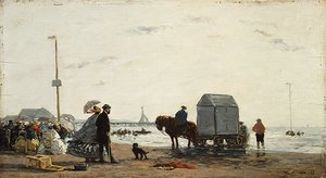 Eugène Boudin - On the Beach at Trouville 1863