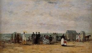 Eugène Boudin - The Beach at Trouville 1869
