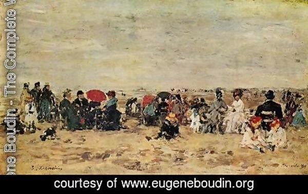 Eugène Boudin - The Beach at Trouville 1880