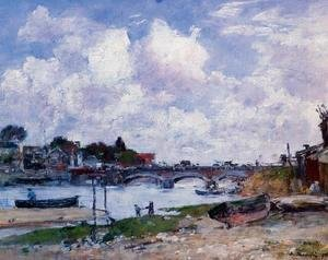 Eugène Boudin - The Bridge over the Toques at Deauville 1895