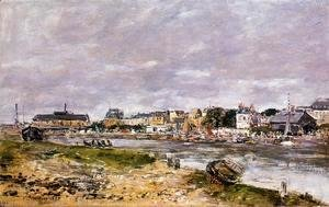 Eugène Boudin - The Port of Trouville the Market Place and the Ferry 1884