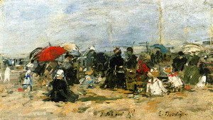 Trouville Beach Scene 1883-1887
