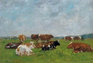 Eugène Boudin - Vaches au paturage