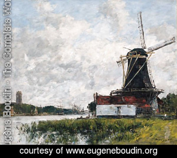 Eugène Boudin - Dordrecht, moulin sur les bords de la Meuse (Dordrecht, Mill on the Banks of the Meuse)
