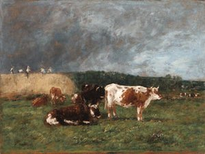 Eugène Boudin - Les Meules, vaches au pturage (Haystacks, Cows in the Pasture)