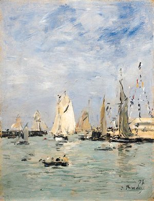Eugène Boudin - Trouville, Les jetes mare haute (Trouville, The Pier at Hightide)