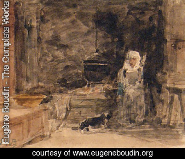 Eugène Boudin - An Elderly Lady In A Kitchen