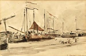 Eugène Boudin - Fishing Boats On The Beach At Scheveningen