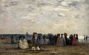 Eugène Boudin - Bathers on Trouville Beach