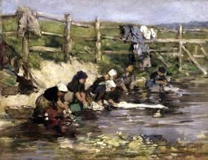 Eugène Boudin - Laundresses by a Stream