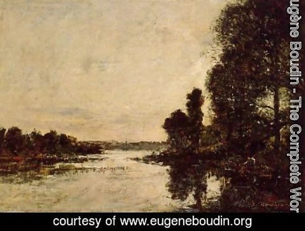 Eugène Boudin - Saint-Valery-sur-Somme Moonrise over the Canal