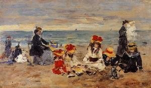 Eugène Boudin - Women Fishing for Shrimp at Kerhor 2