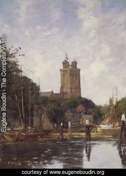 Eugène Boudin - Dordrecht, The Great Church from the Canal