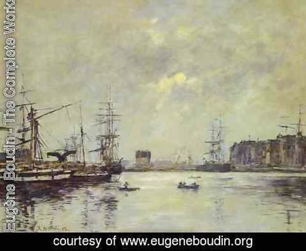Eugène Boudin - The Port of Ke Havre (Dock of La Barre)