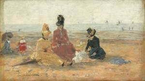 Eugène Boudin - On the Beach, Trouville