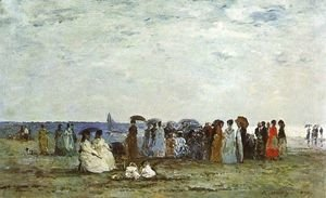 Eugène Boudin - Bathers on the Beach at Trouville 1869